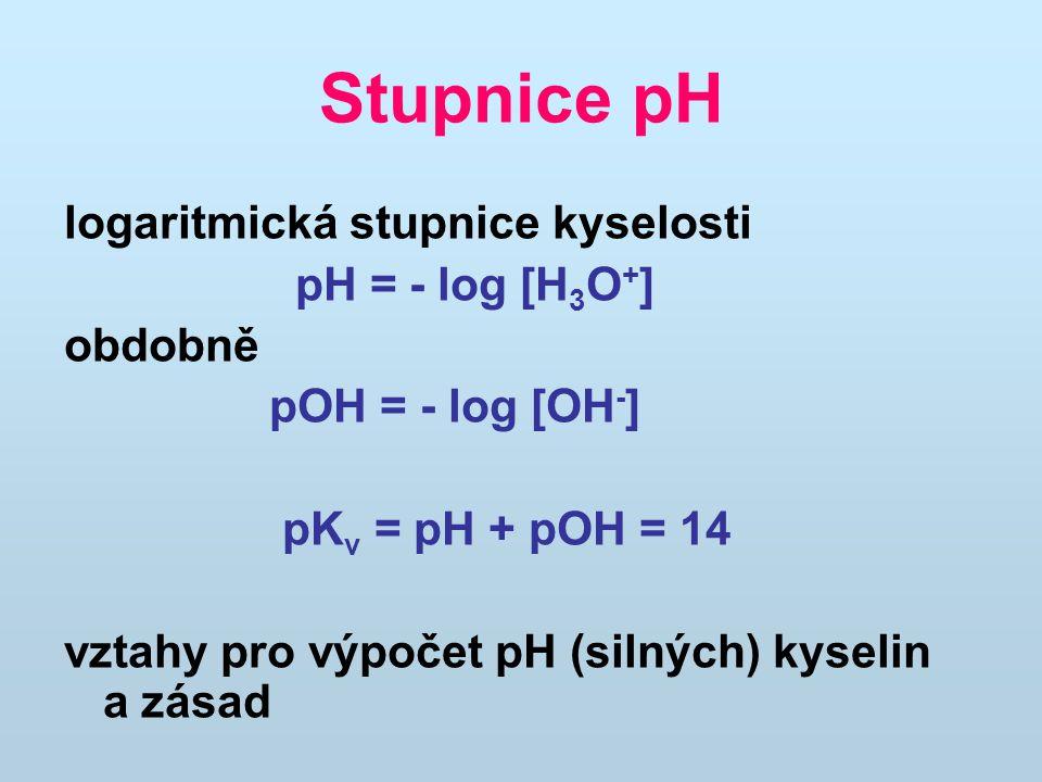 Stupnice pH logaritmická stupnice kyselosti pH = - log [H3O+] obdobně